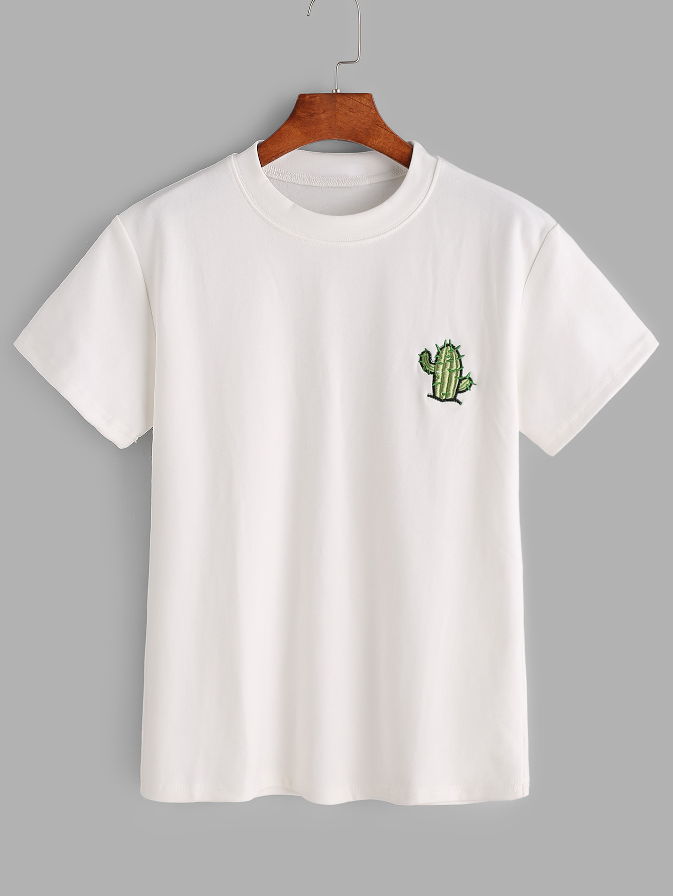 White cactus embroidered t shirtfor women romwe