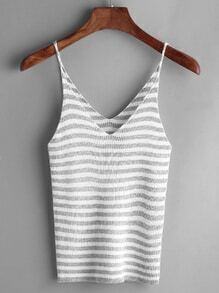 Grey Striped Dual V Neck Slim Cami Top