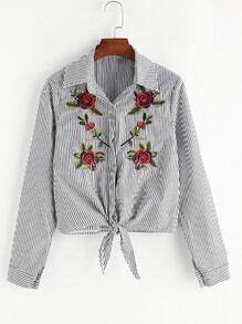 Black Striped Flower Embroidered Tie Hem Shirt