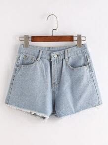 Shorts deshilachados con bordado en denim - azul