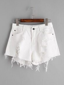 ausgefranste Jeans-Shorts gebrochen - Weiss