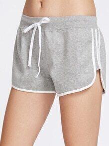 Shorts ribete en contraste con cordón - gris