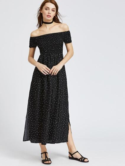 Black Polka Dot Off The Shoulder Slit Side Dress
