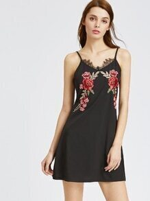 Black Contrast Eyelash Lace Appliques Slip Dress