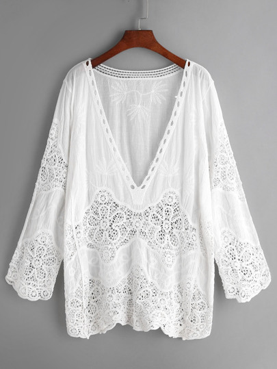 White V Neck Embroidered Eyelet Crochet Lace Blouse