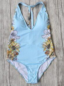 Blue Floral Print Plunge Neck One-Piece Swimwear