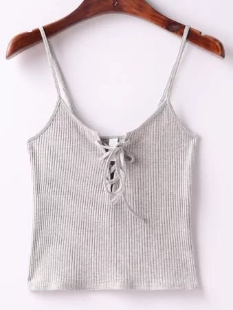 Grey Ribbed Lace Up Cami Top