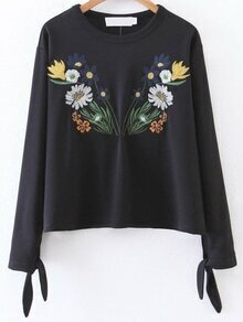 Black Flower Embroidery Tie Cuff Blouse