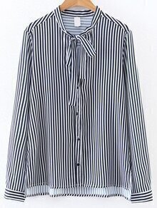 Blue And White Vertical Striped Tie Neck Blouse