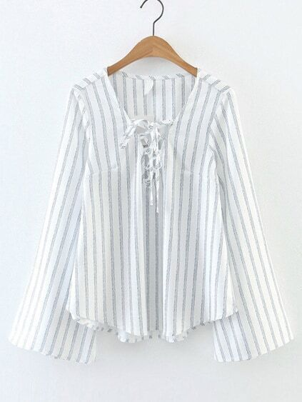 White Vertical Striped V Neck Lace Up Bell Sleeve Blouse