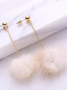 Beige Pom Pom Drop Earrings