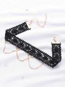 Gargantilla con encaje de croché con cadena - negro