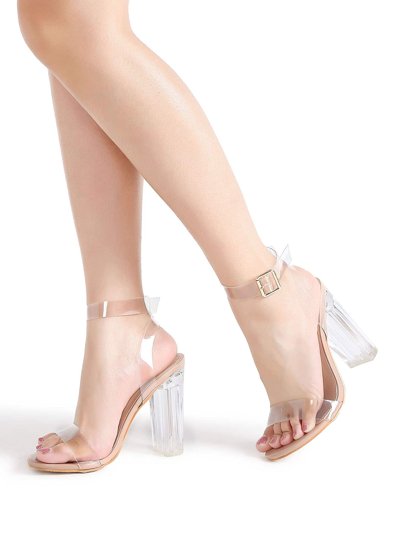 Ankle Strap Chunky Heeled Clear Sandals