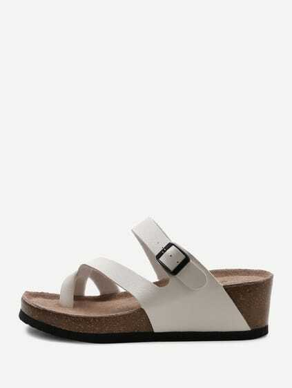 White Toe Ring Wedge Sandals