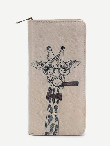 Beige Girafe Coupe Cut Portefeuille