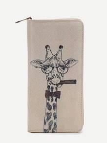 Beige Giraffe Print Cut Wallet