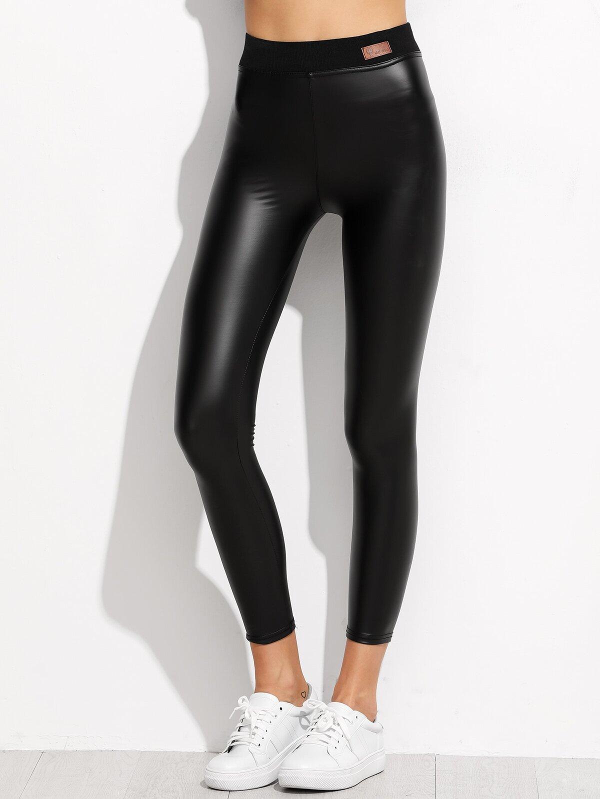 黑色 對比色 彈性腰 仿皮 緊身褲
