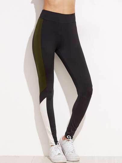 Kontrast Panel Leggings -grau
