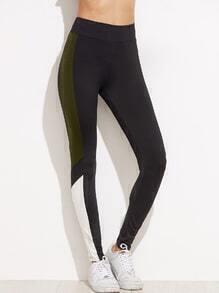 Kontrast Panel Leggings -grau