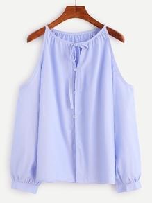 Top épaules nues col en lacet avec bouton - bleu