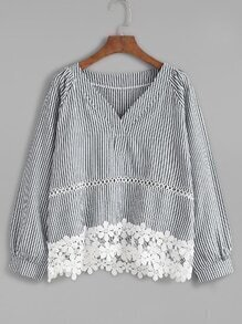 Vertical Striped V Neck Contrast Lace Hem Blouse