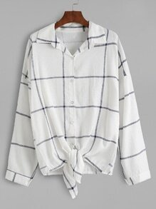 Blusa a cuadros con lazo anudado - blanco