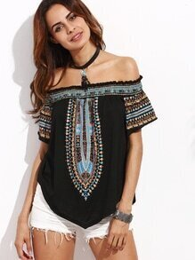 Multicolor Print Off The Shoulder Asymmetrical Blouse