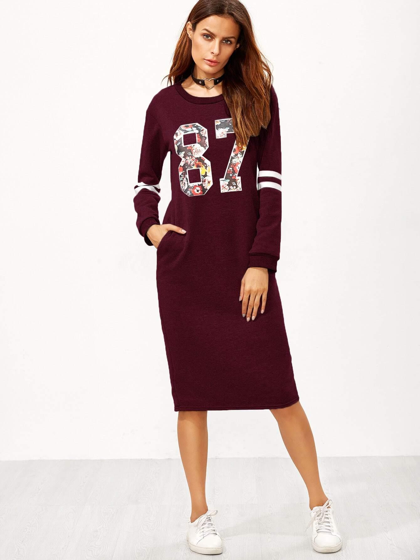 Sweatshirt Kleid mit Reißverschluss Baseball Druck Schlitz Hinten-burgund rot