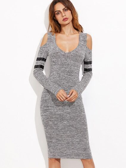 Grey Marled Knit Cold Shoulder Striped Sleeve Pencil Dress
