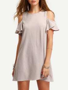 Nude Cold Shoulder Ruffle Sleeves Shift Dress