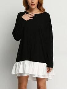 Kleid Rundhals mit weißem Saum - schwarz