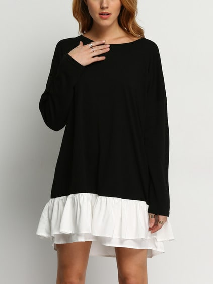 Black Round Neck Contrast White Flounce Hem Dress