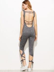 Grey Marled Strappy Scoop Back Lace Up Hem Skinny Jumpsuit