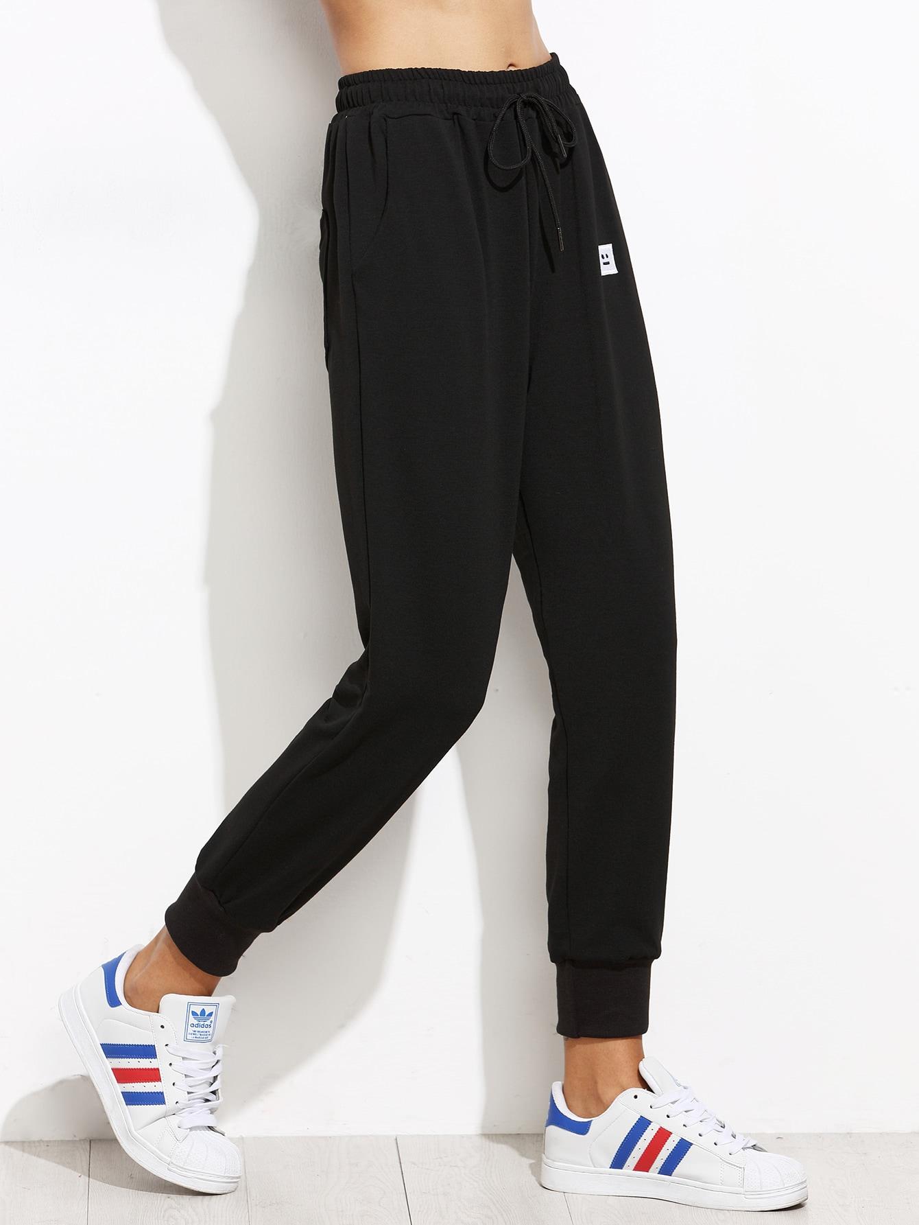 Black Drawstring Patch Peg Pants
