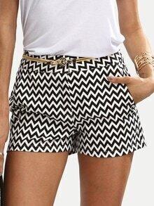 Short imprimé zigzag avec poches - noir blanc