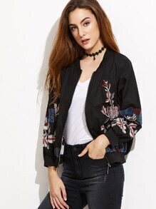 Black Flower Embroidered Ribbed Trim Bomber Jacket