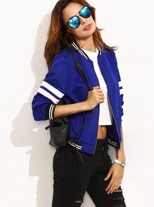 Jacket ribete combinado manga larga - azul