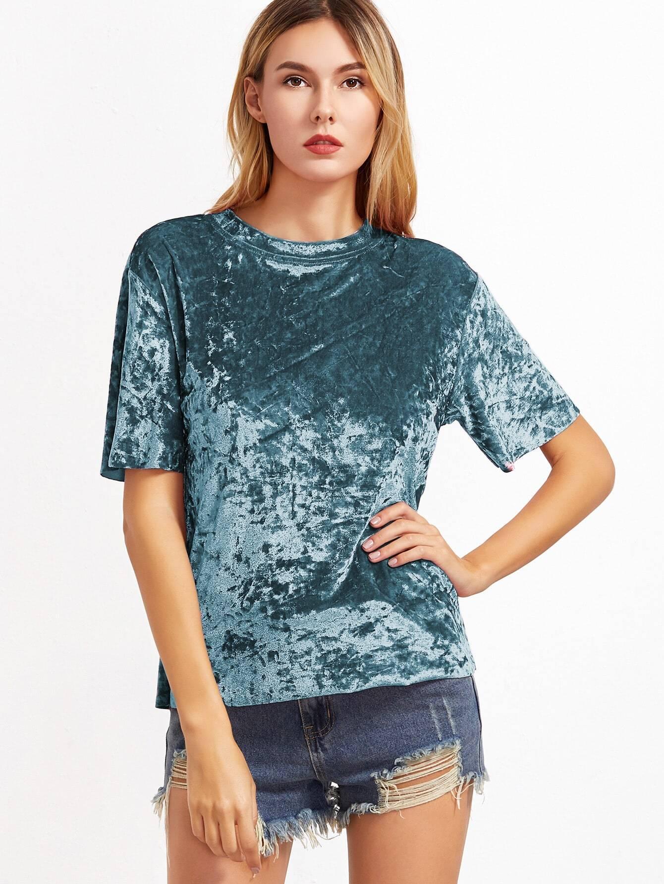 Green Short Sleeve Crushed Velvet T Shirtfor Women Romwe