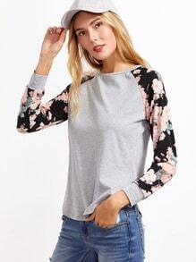 T-shirt contrasté floral manche raglan -gris bruyère