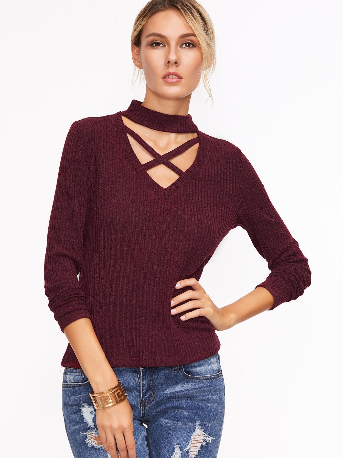 Burgundy Crisscross Choker Neck Ribbed T-shirt