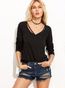 T-shirt plain manche longue avec lacet - noir