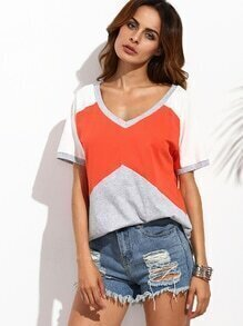 Color Block V Neck Short Sleeve T-Shirt