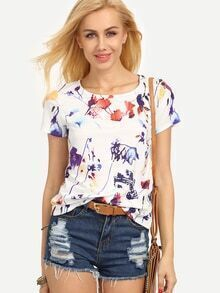 Multicolor Print Short Sleeve T-shirt