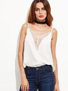 White Floral Lace Trim Plunge Cami Top