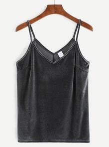 Grey Velvet Cami Top