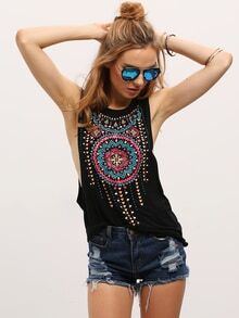 Black Sleeveless Vintage Print Tank Top