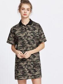 Army Green Camo Print T-shirt Dress