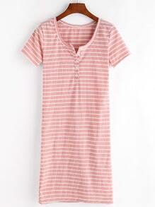 Pink Striped Button Front Knitted T-shirt Dress