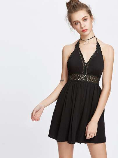 Halter Hollow Out Lace Crochet Backless Dress