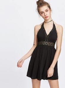 robe licou creux avec de la dentelle crochet backless
